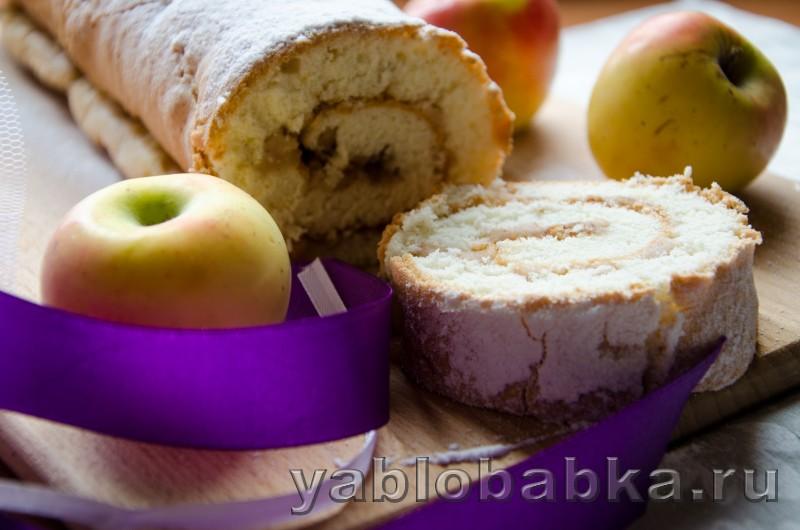 Бисквитный рулет очен вкусный и простой рецепт с яблоками