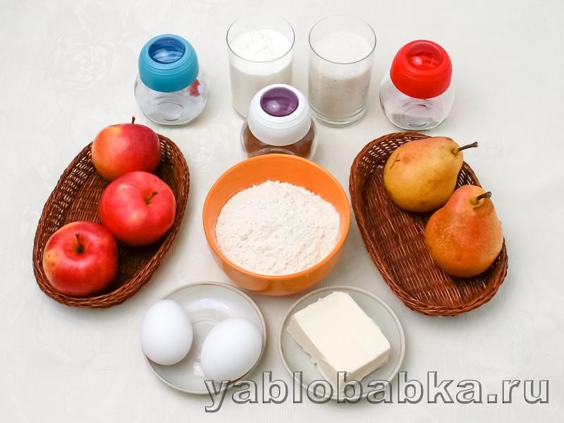 Шарлотка с грушами и яблоками на кефире: фото 1