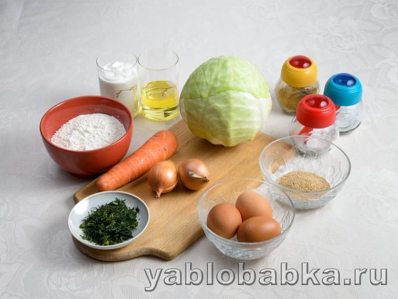 Шарлотка с капустой в духовке: фото 1