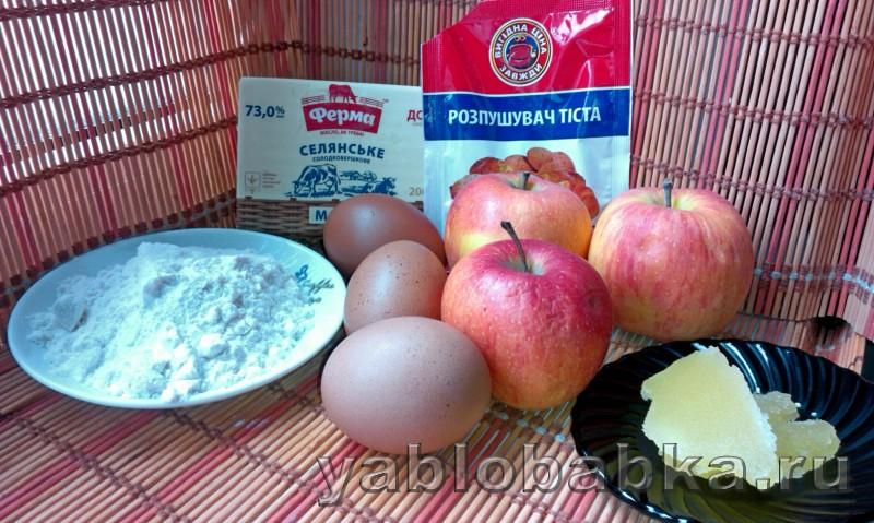 Шарлотка с медом и яблоками без сахара: фото 1