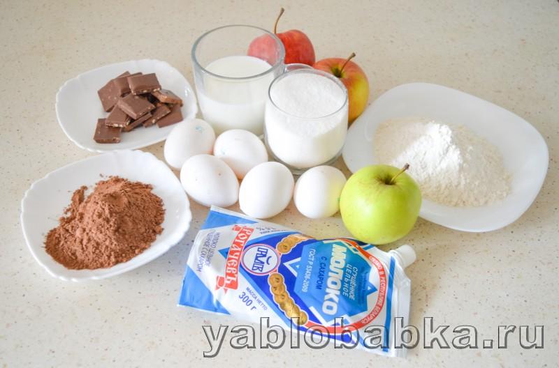 Шарлотка с шоколадом и яблоками: фото 1