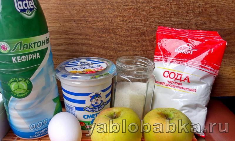 Шарлотка с тертыми яблоками и сметаной: фото 1
