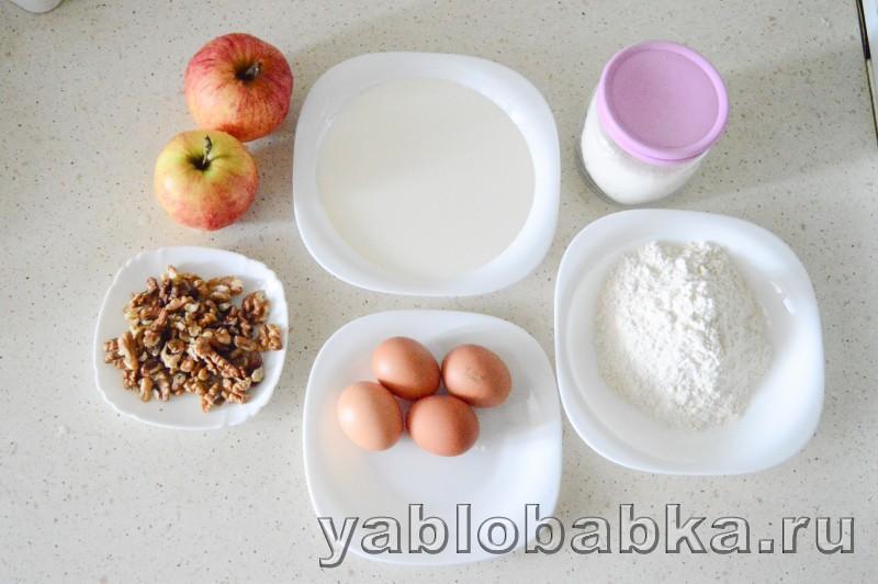 Сметанная шарлотка с яблоками и грецкими орехами: фото 1