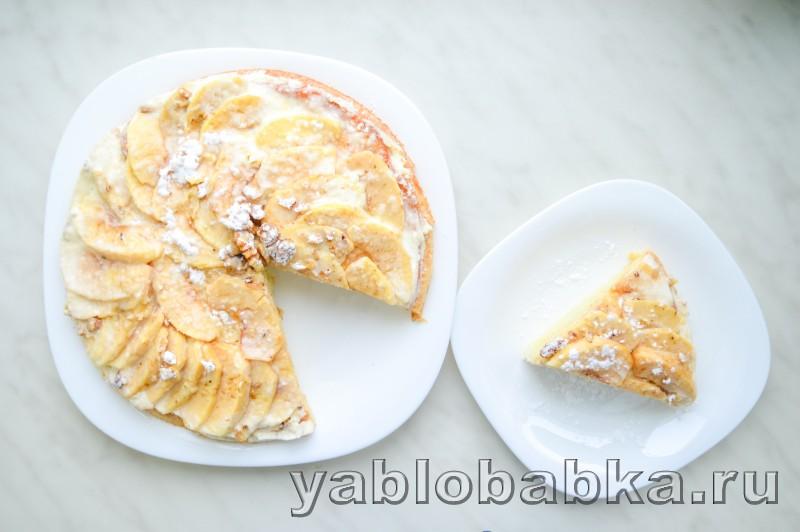 Сметанная шарлотка с яблоками и грецкими орехами: фото 14